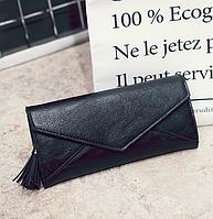 Женский черный кошелек с визитницей, фото 1