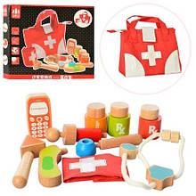 KMMD1317 Деревянная игрушка Доктор MD 1317  мед.инструменты, сумка, в кор-ке,41-36,5-6см