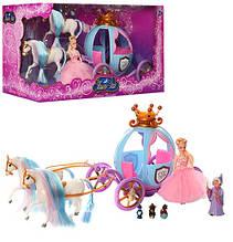 KM778397 TG Карета /201  кукла Золушка, 2 лошади, фея, мыши, свет, на бат-ке, в кор-ке,49-20-26с