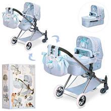 KM80722 Коляска   для куклы, демисезонная,3в1,сумка, корзина, 80-45-81см, в кор-ке,64-38-15см
