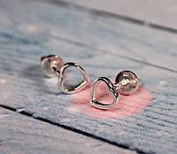 Серьги-гвоздики Серебряные  Сердца  #, фото 1