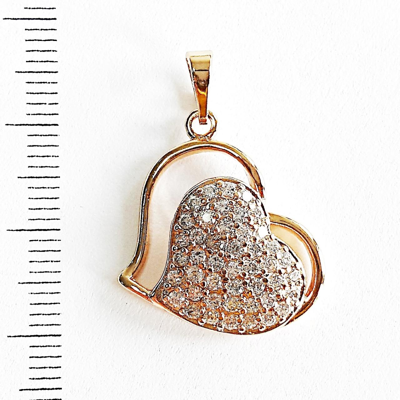 Кулон сердце xuping подвеска с цирконием  2.8см 5278
