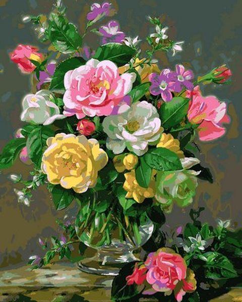 Розмальовки для дорослих 40×50 див. Троянди в скляній вазі Художник Альберт Вільямс