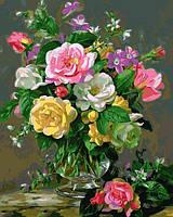 Розмальовки для дорослих 40×50 див. Троянди в скляній вазі Художник Альберт Вільямс, фото 1