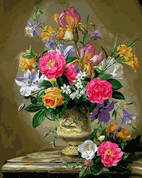 Раскраски для взрослых 40×50 см. Пионы и ирисы в керамической вазе Художник Альберт Уильямс