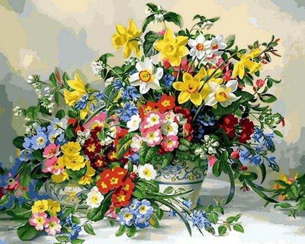 Раскраски для взрослых 40×50 см. Весенние цветы и Poole ...
