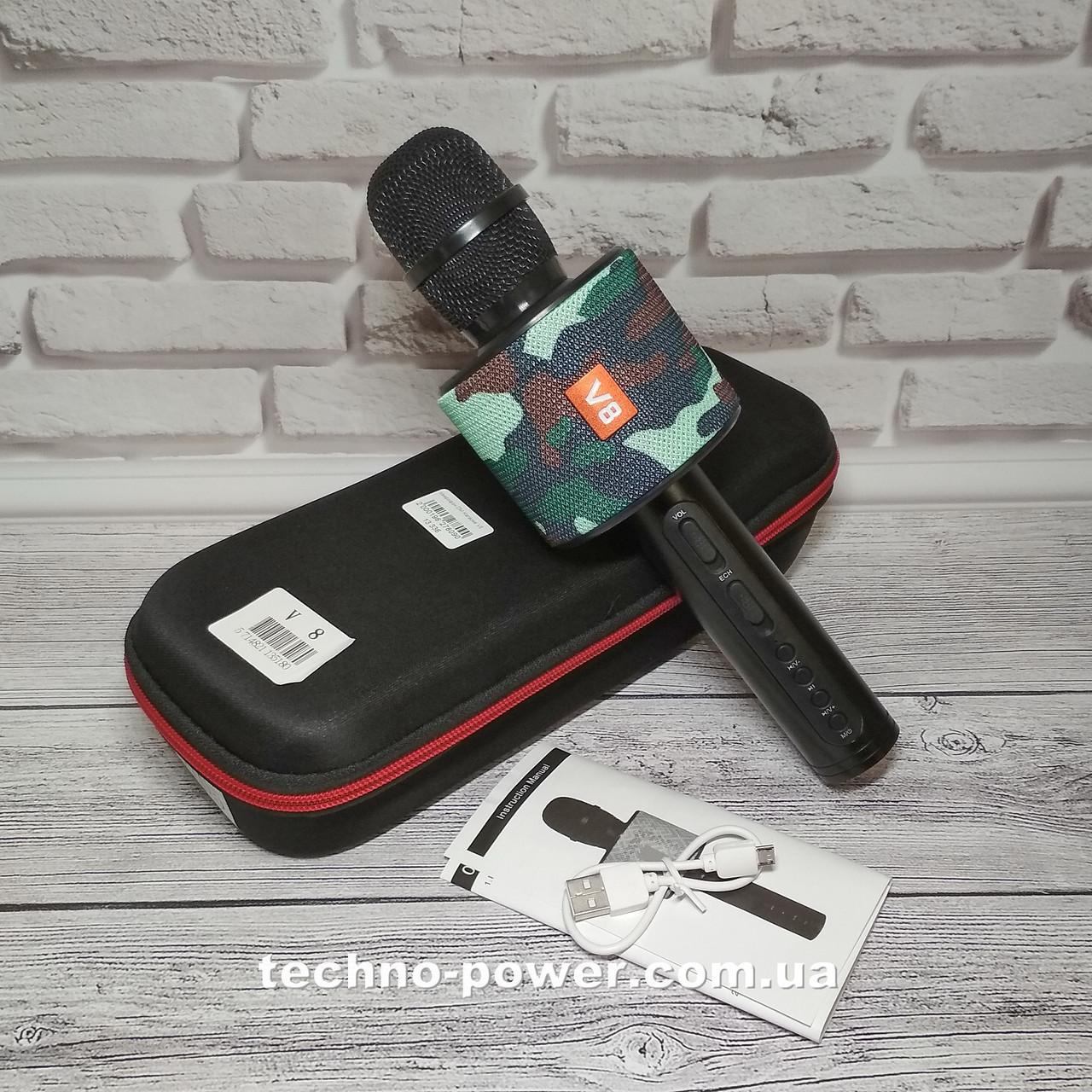 Портативный караоке микрофон Charger V8 Black с чехлом