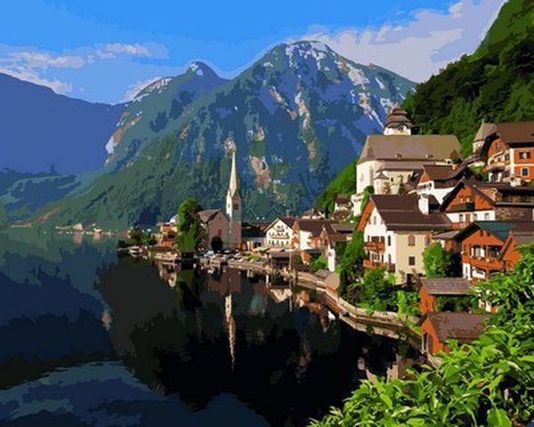Картини по номерах 40×50 см. Озеро Хальштеттер Австрия