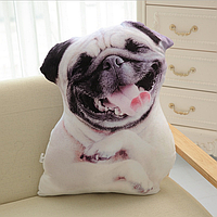 Подушка-собака 3D «Мопс»  40 см.