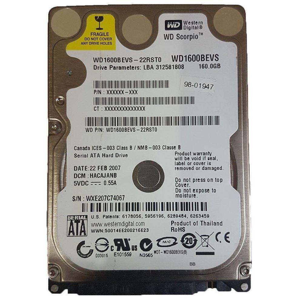 "Жесткий диск Western Digital Scorpio Blue 160Gb 5400rpm 8MB (WD1600BEVS)  2.5"" SATA"