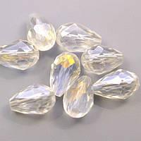 Бусина граненная, капля, 8х13 мм, стекло, цвет -  прозрачный с напылением АВ (хамелеон), 1 шт.