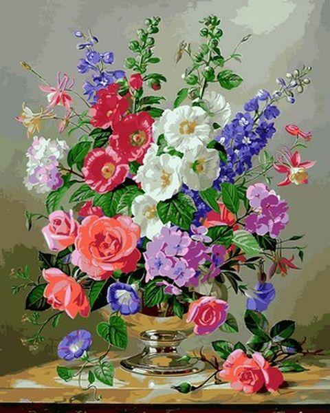 Раскраски для взрослых 40×50 см. Летние цветы в серебряной вазе Художник Альберт Уильямс