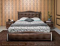 Кровать полуторная Прованс с мягким изголовьем квадраты Коричневый, без подъемной рамы, 1200х1900(2000) мм