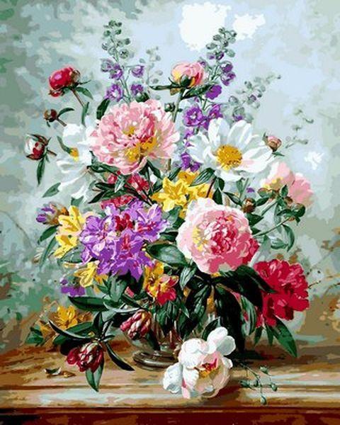 Раскраски для взрослых 40×50 см. Пионы и смешанные цветы Художник Альберт Уильямс