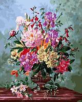 Раскраски для взрослых 40×50 см. Натюрморт с цветами в вазе на мраморном столе Художник Альберт Уильямс