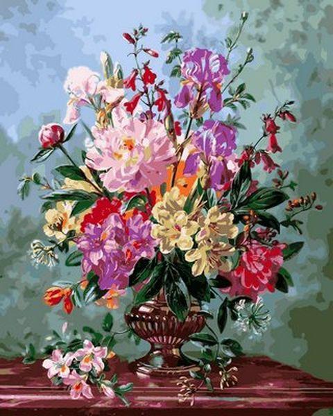 Раскраски для взрослых 40×50 см. Натюрморт с цветами в ...