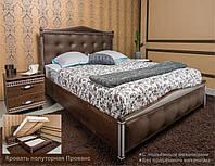 Кровать полуторная Прованс с мягким изголовьем квадраты Коричневый, с подъемной рамой, 1400х1900(2000) мм