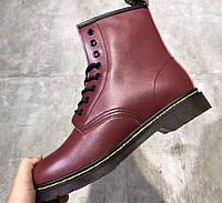 Зимние ботинки доктор мартинс Dr Martens Brooklee Lace Softy бордовые 42d1e9b805440