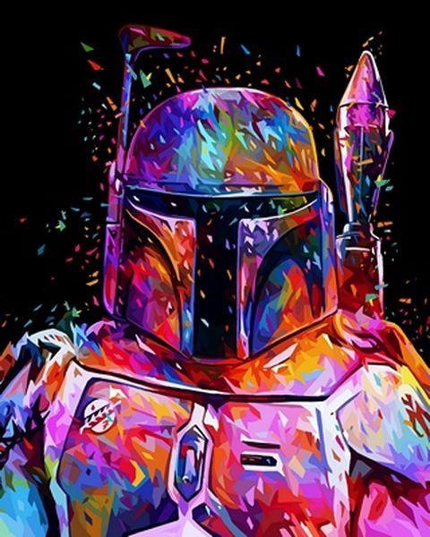 Раскраски по номерам 40×50 см. Боба Фетт Звёздные войны