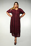 Платье бордовое с рукавом, большой размер, на 56-66 размеры