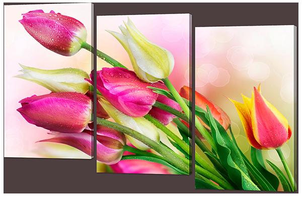 Модульная картина Interno Эко кожа Нежные тюльпаны 104х74см (А859M)