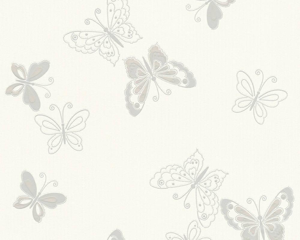Обои виниловые с серыми бабочками на белом фоне 346761