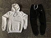 Костюм спортивный мужской в стиле Nike, хлопоковый трикотаж, флис код товара OS-034. Серый с черным