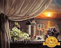 Рисование по номерам 40×50 см. Babylon Premium Вино на закате, фото 1