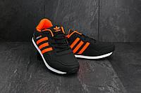 Кроссовки A 1807-4  (Adidas Haven Collegiate) (весна-осень, мужские, кожзам, черно-оранжевой), фото 1