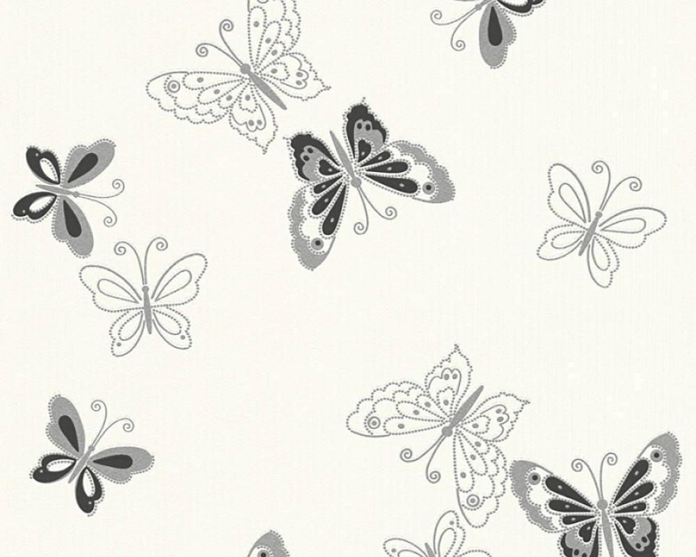 Обои флизелиновые с черными бабочками на белом фоне 346762