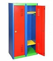 Детский шкаф для одежды металлический ШОД-300/2, двухсекционный металлический шкаф в раздевалку