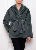 Женская шуба ЭКО-мех стриженная норка, темно-лазурный