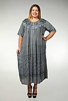 Платье серое с рукавом, большой размер, на 56-66 размеры