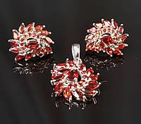 Комплект гранаты серьги кулон серебряные украшения натуральные камни