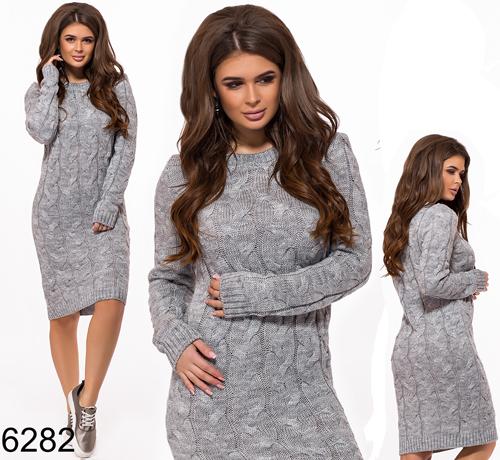 Теплое вязаное платье миди (серый) БА-826282