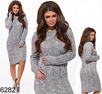 Теплое вязаное платье миди (серый) БА-826282, фото 1