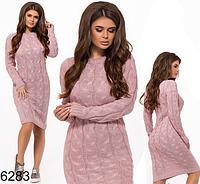 Вязаное платье с длинным рукавом (пудра) БА-826283