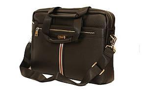 Стильный портфель- месседжер из качественного кожзама черного цвета.(14745)