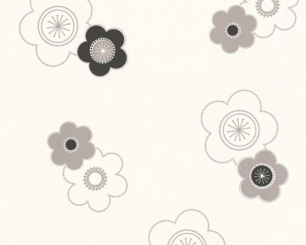 Моющиеся немецкие обои Happy Spring 347673 с черными цветочками на белом, для стильной спальни