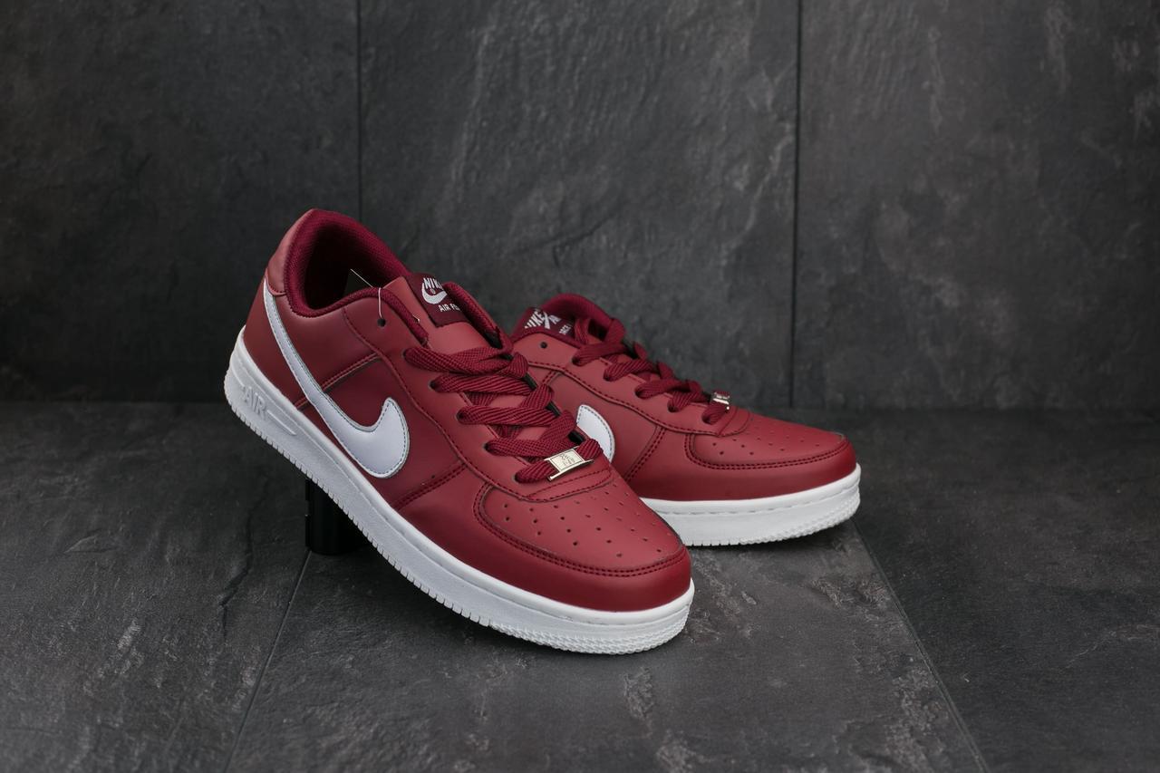 Кроссовки A 535-7 (Nike AirForce) (весна-осень, мужские, кожа прессованая, красно-белый)