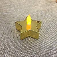 Декоративная Led свеча звезда золотая Ewax 5см, Цена указанна за 1 штуку, в упаковке 2 штуки