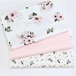 """Сатин ткань """"Маленькие розовые гиацинты"""" на белом №1732с, фото 3"""