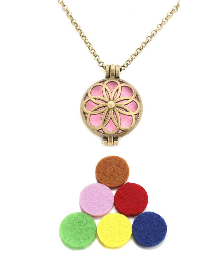 Аромамедальон цветок бронзового цвета для аромамасел и любимых духов