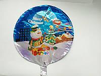 """Фольгированный шар круглый с рисунком новогодним """"Снеговик Merry Christmas"""" 45 см"""