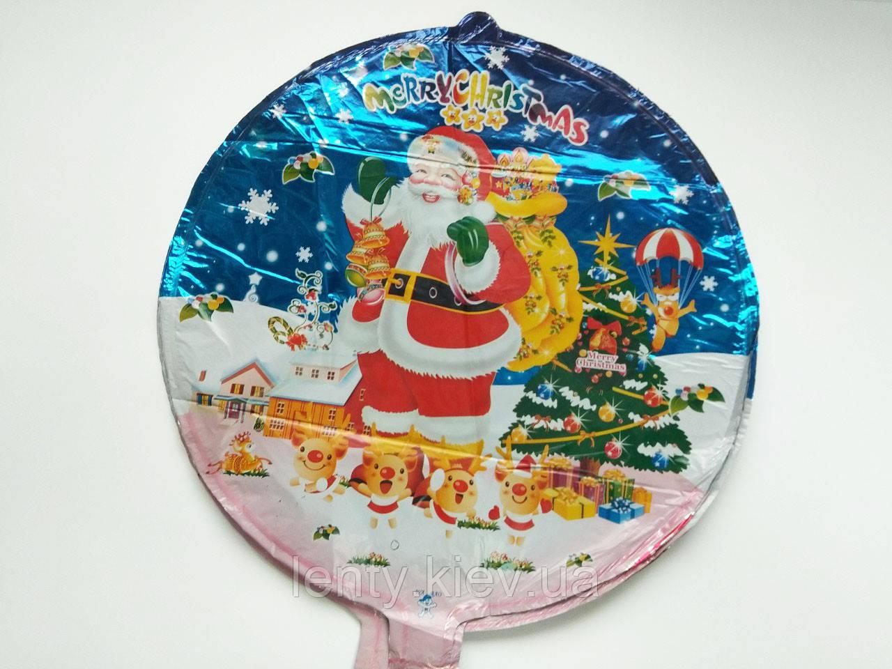 """Фольгований куля круглий з новорічним малюнком """"Дід Мороз"""" 45 см"""