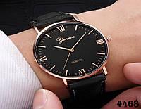 Мужские кварцевые наручные часы / годинник Geneva c ремешком чёрного цвета  (468)