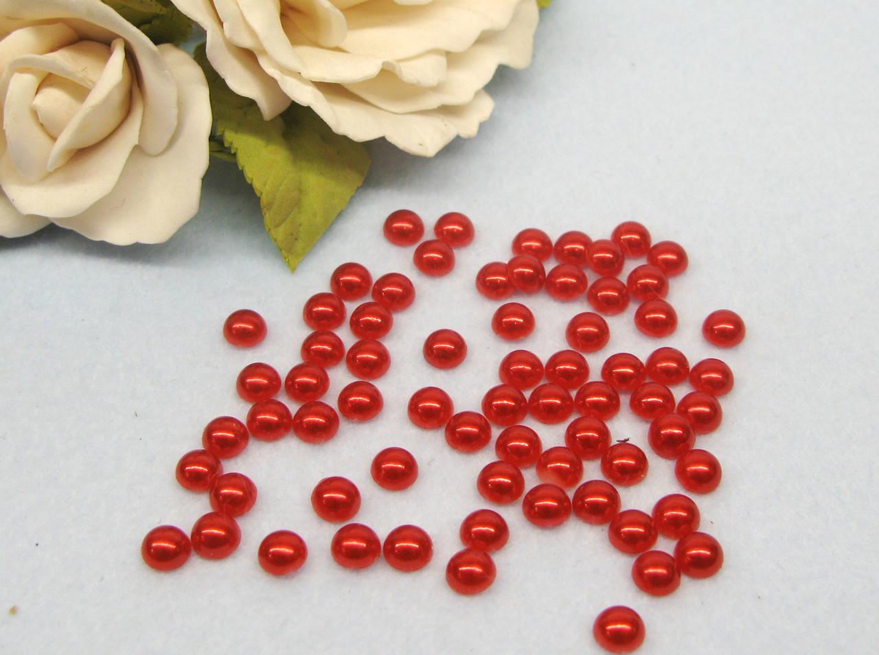 Полубусины жемчужные, 6 мм, цвет красный, цена 7 грн - 160-170 шт