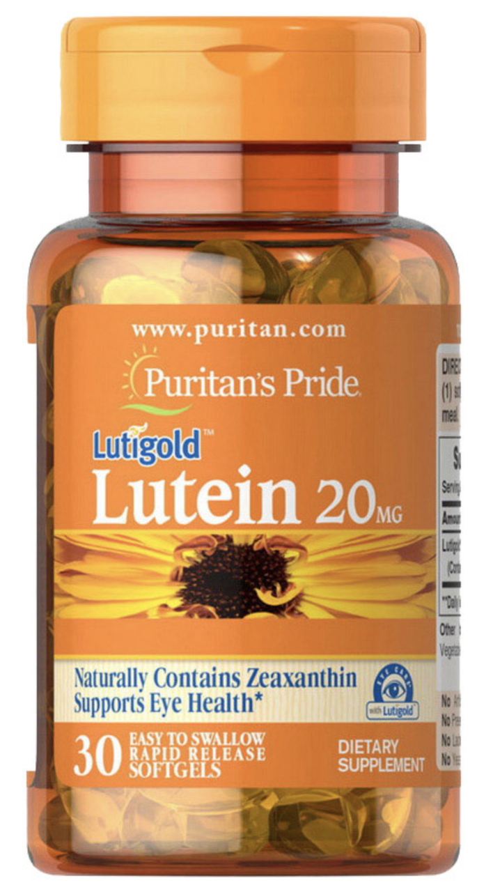 Puritan's Pride Lutein 20 mg 30 softgels, Лютеин 20 мг 30 капсул