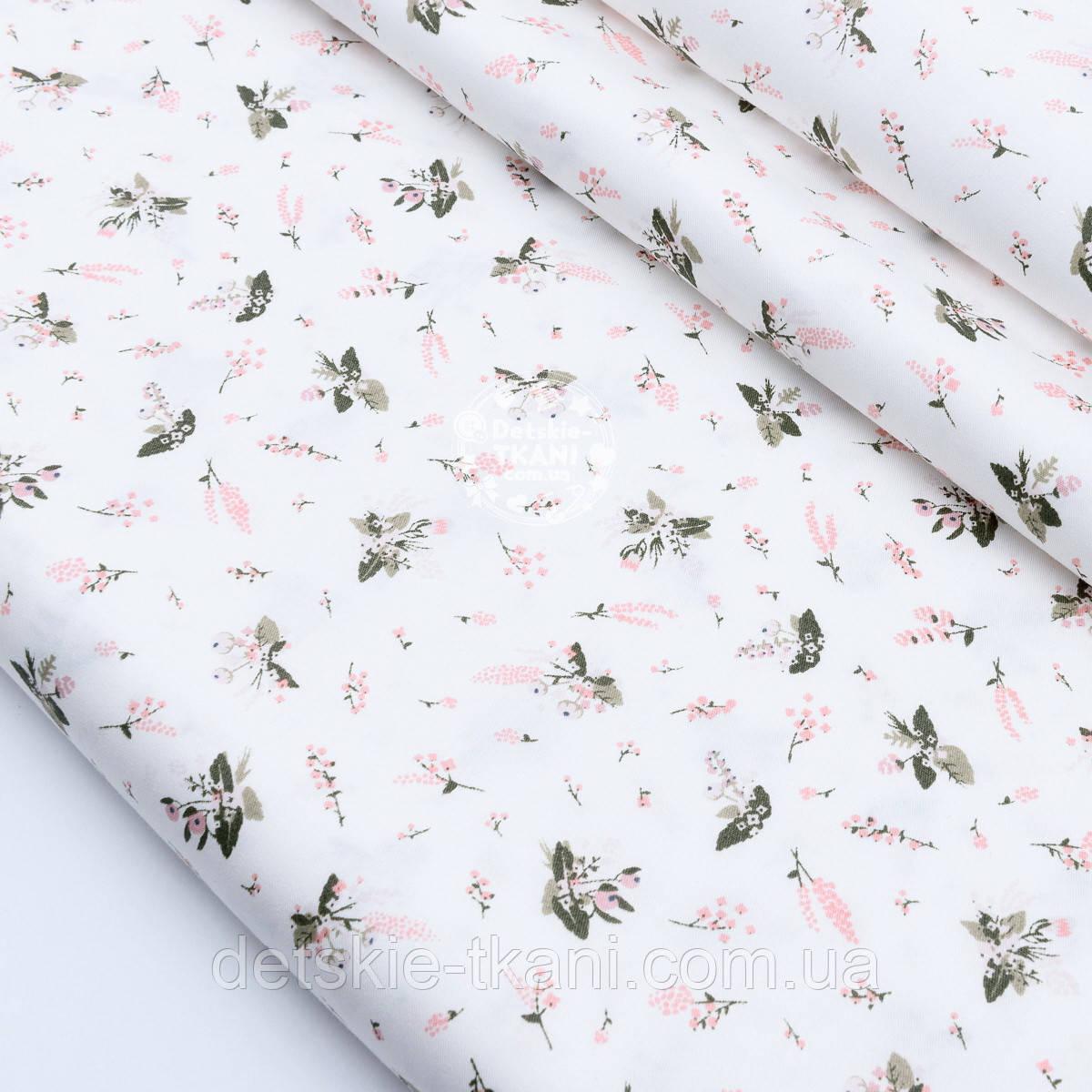 """Сатин ткань """"Маленькие розовые гиацинты"""" на белом №1732с"""