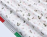 """Сатин ткань """"Маленькие розовые гиацинты"""" на белом №1732с, фото 4"""